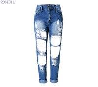Bleach ROSICIL 2016 Hot Moda Damska Bawełna Denim Spodnie Damskie AM06 Ripped Skinny Jeans Denim Jeans Dla Kobiet