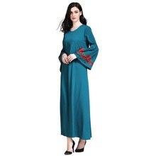 52c3e245cd091 فساتين أزياء مسلمة العباءة رداء جديد زهرة التطريز فضفاضة مضيئة طويلة  الأكمام الكبار إمرأة  أنيق