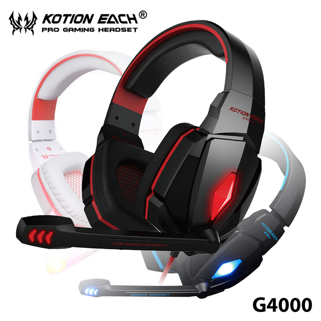TOP!16 Gamer Headset 7.1 Surround USB Gaming 3.5mm Earphone Over-ear Game Headphone with Mic and LED KOTION EACH G4000 for PCs
