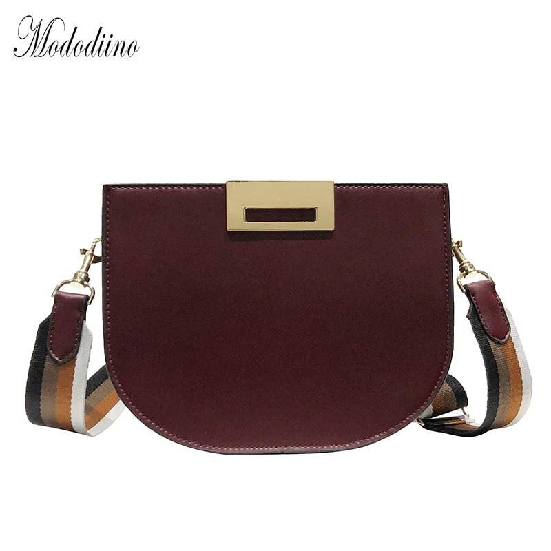 Mododiino Half Moon Women Bag Wide Strap Belt Saddle Bag Woman Shoulder Bag Mini Crossbody Bag For Women Messenger Bag DNV1061