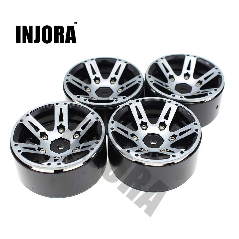4PCS RC Rock Crawler Metal Wheel Rim 1.9 Inch BEADLOCK for 1/10 Axial SCX10 90046 TAMIYA CC01 D90 D110 TF2 Traxxas TRX-4 2pcs 2 2 metal wheel hubs for 1 10 scale rc crawler car nv widen version outer beadlock wheels diameter 64 5mm width 43 5mm