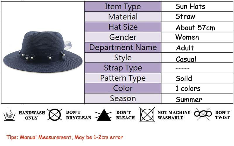 Summer Sun Hat For Women Beach Summer Straw Fedora Hat Panama Hat