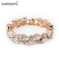 High Quality Fashion Champagne Gold Plated Mona Lisa Zircon Bracelet For Women White CZ Stones Christmas
