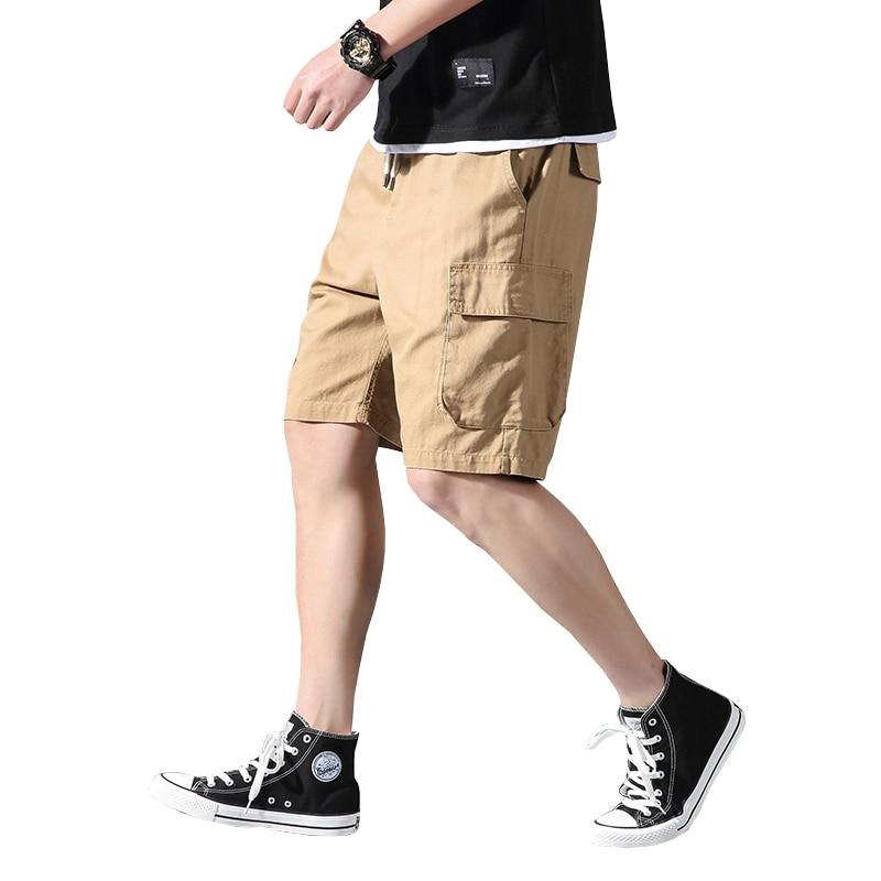2020 Summer Harajuku Cotton Cargo Shorts Men Summer Fashion Knee-Length Streetwear Hip Hop Pockets Joggers Shorts 5XL