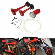 Universal Motorcycle 12V Air Horn 135DB Complete Set Loud Dual Trumpet powerful air horns Compressor Kit RV Train Car Truck Boat
