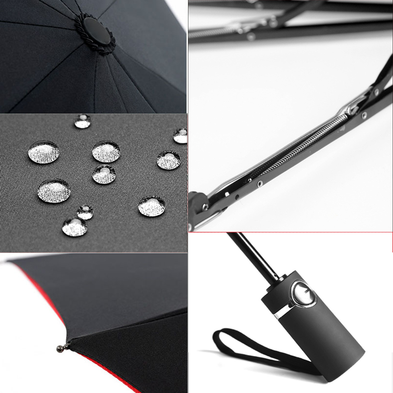 10 Ribs Fully Automatic Windproof Umbrella Rain Women Double Layer Cloth Reinforced 3 Folding Men Outdoor Solid Color Umbrella in Umbrellas from Home Garden