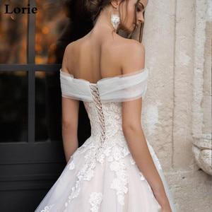 Image 3 - לורי אור ורוד נסיכת שמלות כלה כבוי כתף Appliqued תחרה הכלה שמלת אונליין טול תחרה עד בחזרה Boho חתונה שמלת