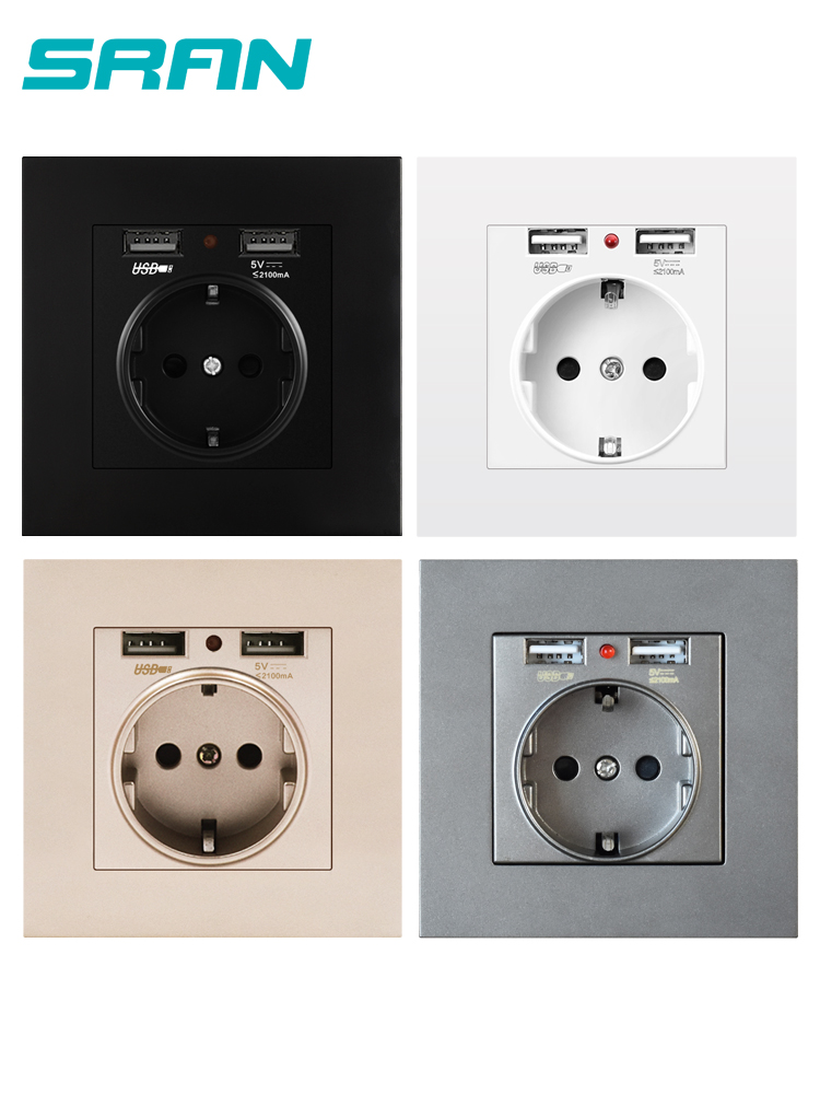 SRAN Eu-Power-Socket Pc-Panel Dual White/black with Usb--16a 250V 5V 2A Flame-Retardant