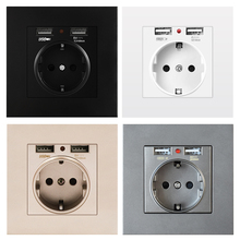 Eu-Power-Socket-Socket Pc-Panel Wall Dual Usb SRAN Smart Home-16a with for 250V 5V 2A