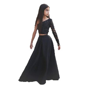 Black Two Pieces Beaded Flower Girl Dresses Satin Girls Wedding Party Dresses with Sleeve