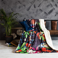 Black Color Print 3D Thermal Blanket For Bed Throw Blankets 150x200cm Size Machine Washable Lambs Wool