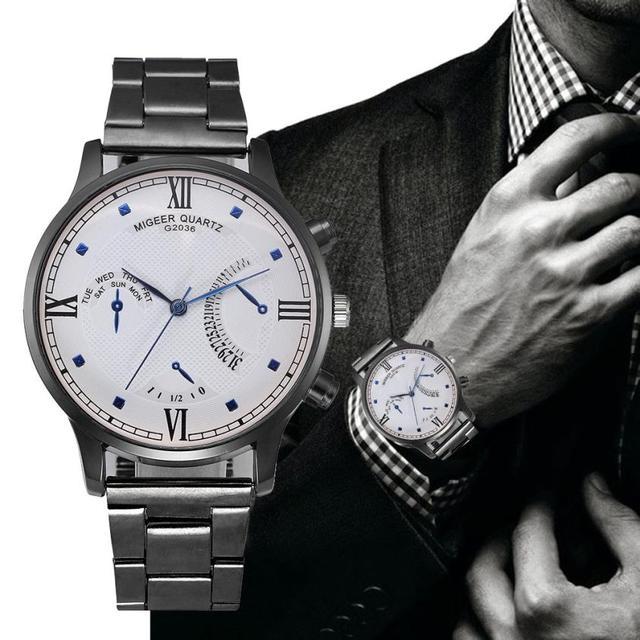 Fashion Men Crystal Stainless Steel Analog Quartz Wrist Watch Bracelet Hours sta