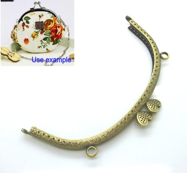 "Free Shipping- Antique Bronze Flower Purse Bag Metal Frame Kiss Clasp Lock Handle 16.5x9cm(6 4/8""x3 4/8"") J2619"