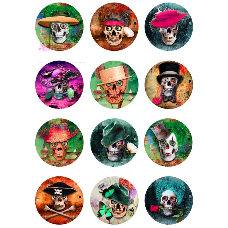 16mm 12mm 25mm 413 12pcs lot Skull Mix Round Glass Cabochons DIY Jewelry Findings fit 18mm Snap Button Charm Bracelet Gift in Jewelry Findings Components from Jewelry Accessories
