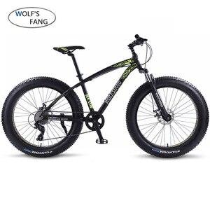 Image 1 - wolfs fang Bicycle Mountain Bike bmx 8 speed Bikes Fat bike mtb road  bikes 26*4.0 Snow Bicycles free shipping