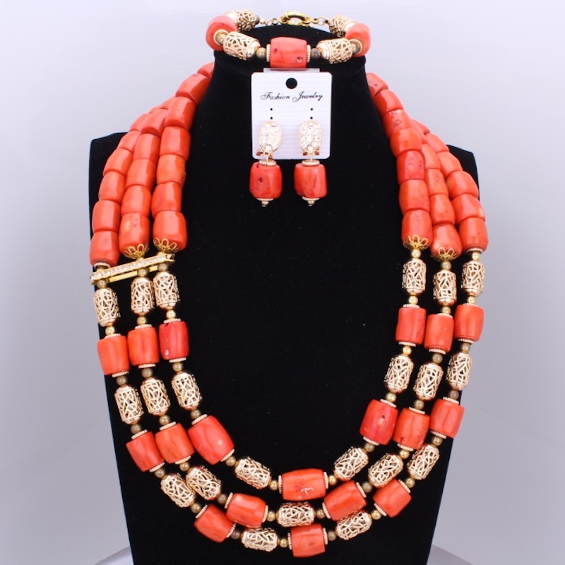 New Orange Big Design Original Coral Jewelry Sets 3 Layers Statement Nigerian Wedding Beads Necklace Jewelry Christmas Set 2017