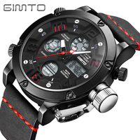 GIMTO Brand Men Sport Watch Black Leather Military Male Clock Digital Shock Watches LED Waterproof Wristwatch