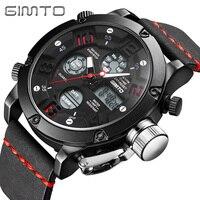 GIMTO Brand Men Sport Watch Black Leather Military Male Clock Digital Shock Watches LED Waterproof Wristwatch