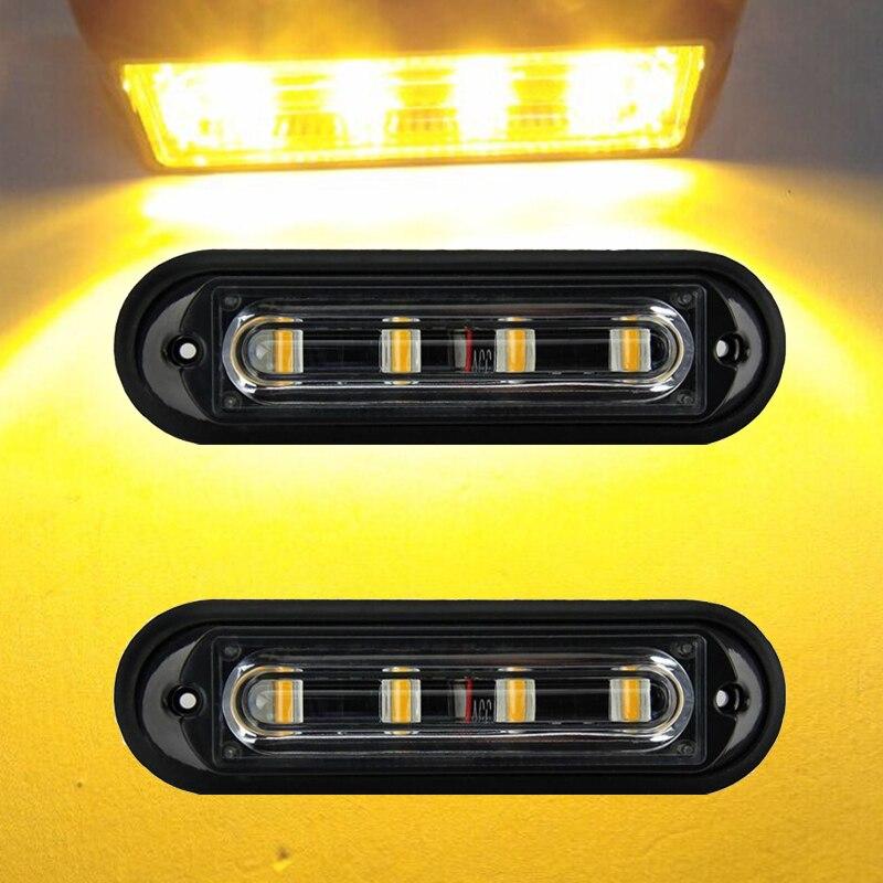 2Pcs Amber 4LED Emergency Warning Beacon Flash Strobe Light Car SUV Truck Pickup