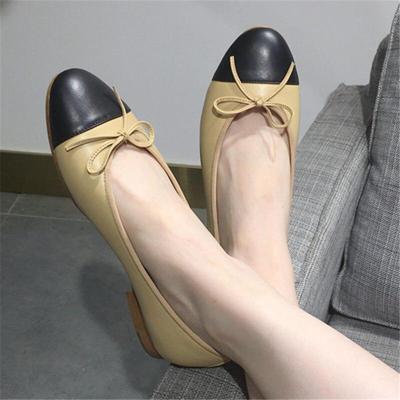 Chaussures Ballerines Luxe 2019 Printemps Femmes Mujer Sur A Mocassins De Nouveau Marque Bowknots Glissement Conduite Appartements Des Couleurs b Mélangées Zapatos w7g0qw