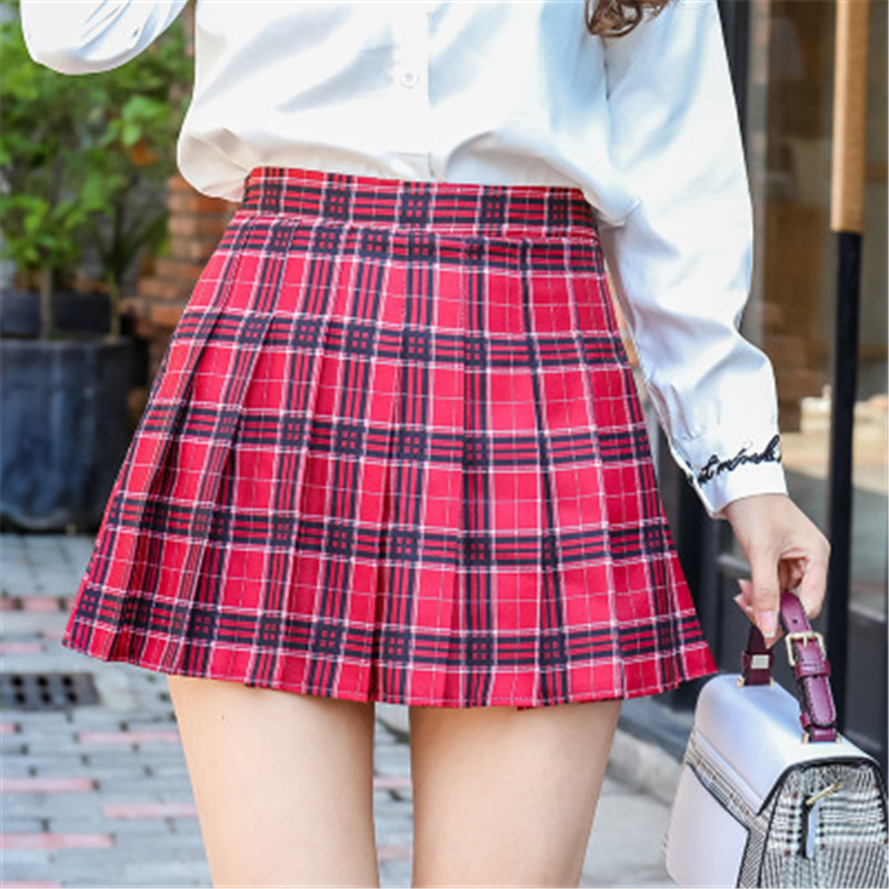 iMucci Women Pleat Skirt Harajuku Style Plaid Skirts Mini Cute School Uniforms Ladies  Kawaii Skirt  Cotton  Empire