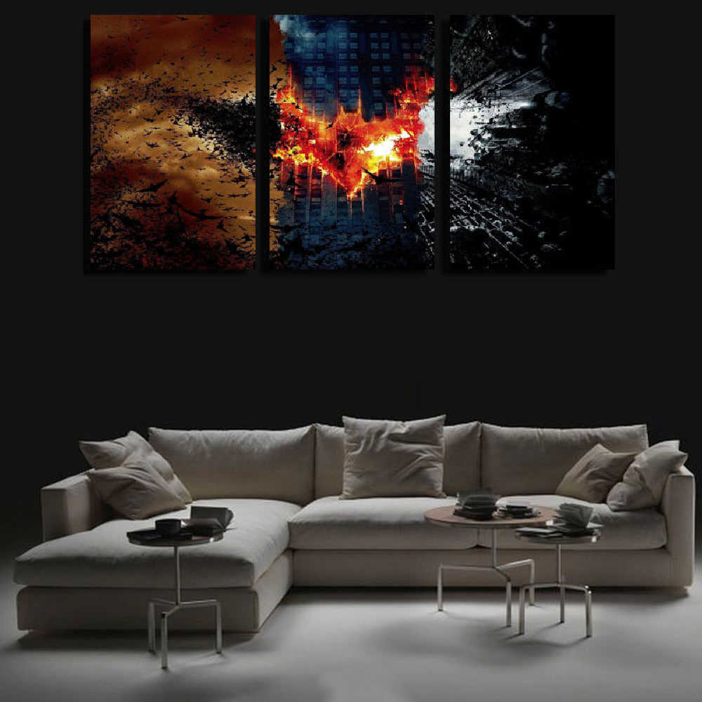 Living Room Wall Art Pictures HD Printed 3 Panel Batman Movie Scene Modern Painting On Canvas Home Decoration Posters Frame