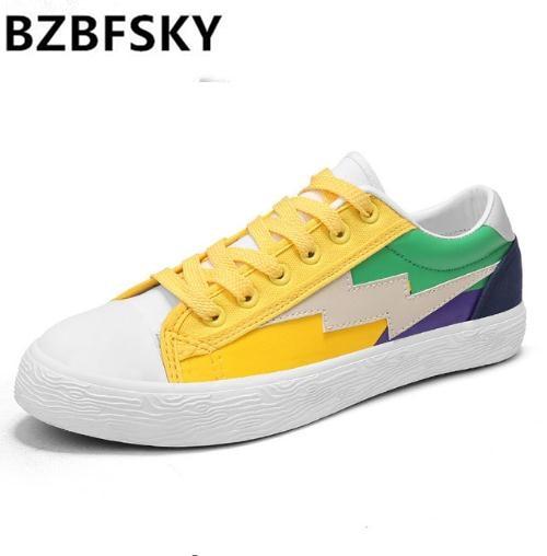Vulcanisé En Bzbfsky Toile Homme Chaussures De Zapatos Casual Hombre black Couleur yellow Mode Air Mix Lacets Sneaker À Plein White fq41Wrvf