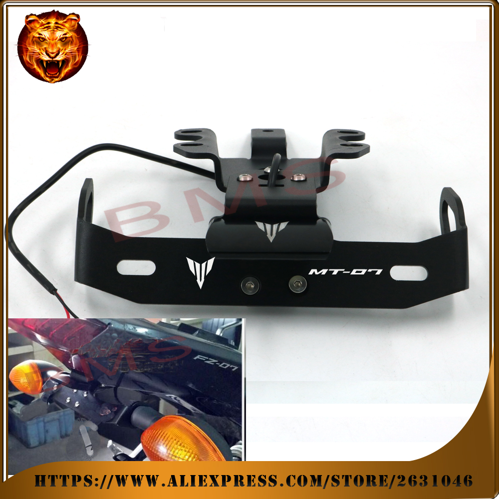 Motorcycle Tail Tidy Fender Eliminator Registration License Plate Holder frame LED Light For YAMAHA MT07 MT-07 2014 2015 2016 motorcycle tail tidy fender eliminator registration license plate holder bracket led light for ducati panigale 899 free shipping