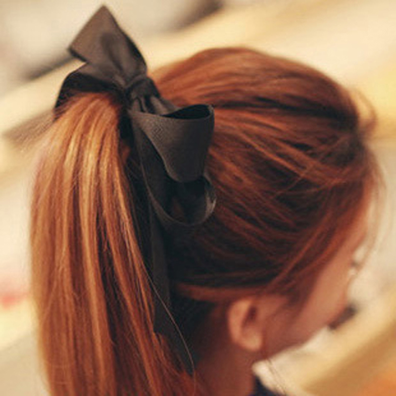 1PC HOT Fashion Women Girl  Multicolor Ribbon Bow Elastic Hair Band Rope Scrunchie Ponytail Holder Hair Accessories 2 pcs pack fashion women lady girls pearl flower hairband rope scrunchie nice ponytail holder hair band accessories