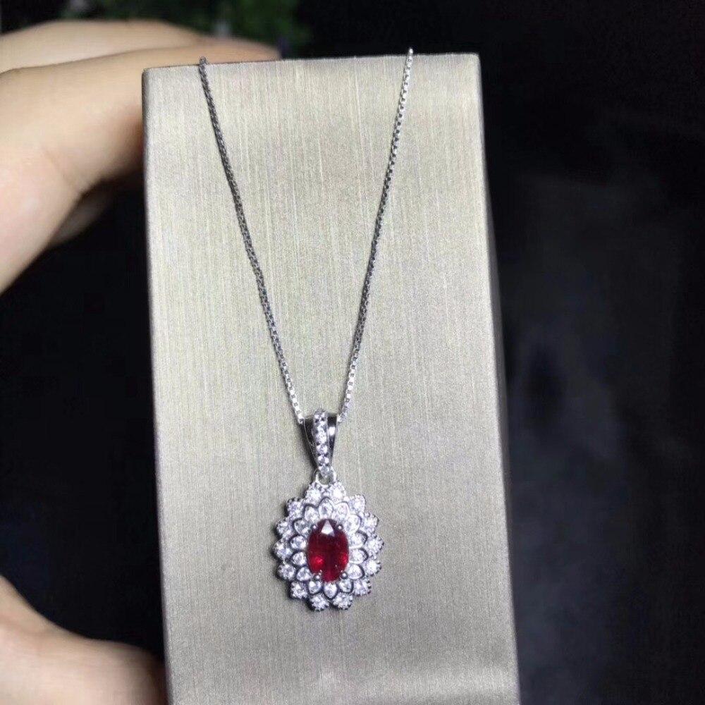 Cross stijl natuurlijke ruby ketting, multi kleur, 925 zilveren high end kleur schat.-in Hangers van Sieraden & accessoires op  Groep 1