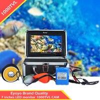 Eyoyo 30 м 1000tvl Рыболокаторы Подводный Видео Камера Мониторы 7 Рыболокаторы белый светодиод рыбы Cam с Защита от солнца козырек для лейкерс