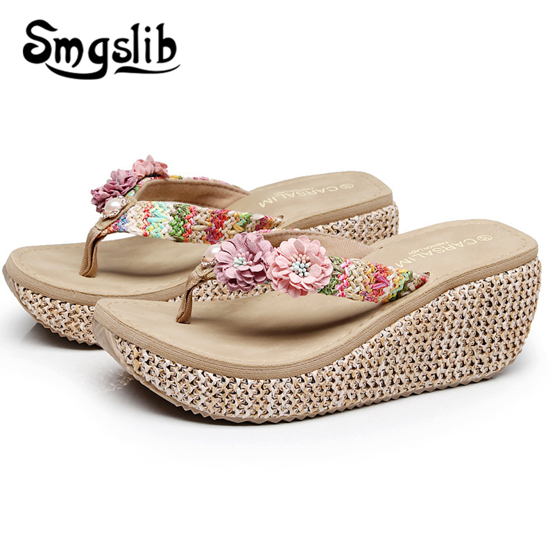 Woman Slippers Lady Home Slippers Fashion Casual Beach Flip Flops Sandals Women Sandals 2019 Summer Sexy High Heel Slippers in Flip Flops from Shoes