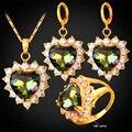 Mujeres Zirconia Mystic Anillo Pendientes Collar Chapado En Oro de Joyería de Boda Nupcial Conjunto Regalo del Día de San Valentín Del Corazón PER1184