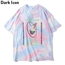 Dark Icon Tie Dye Printed Street Tshirt Men Women 2019 Summer Round Neck Hip Hop T-shirt Cotton Tee Shirts Streetwear Clothing