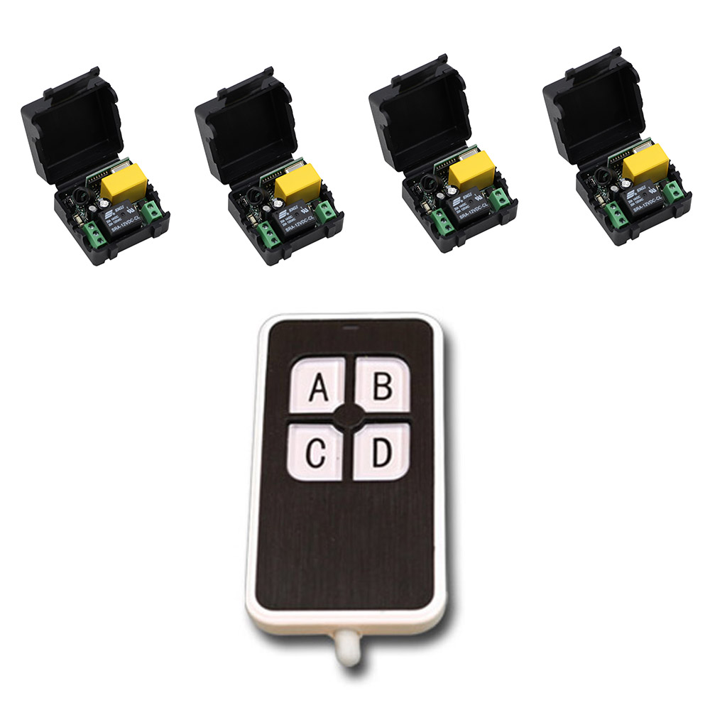Wireless Remote Control Switch , Remote Power ON/OFF For Lighting Motor Curtain 1CH Relay Module With 4 button Remote Controller 2pcs receiver transmitters with 2 dual button remote control wireless remote control switch led light lamp remote on off system