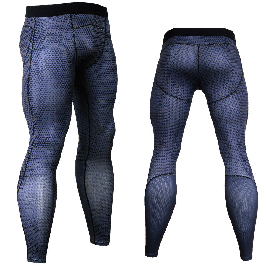 3D Fitness Long Pants Compression Tights Men Joggers Fitness Skinny Leggings Quick Dry Pants Gyms Slim Fit Black Trousers MMA