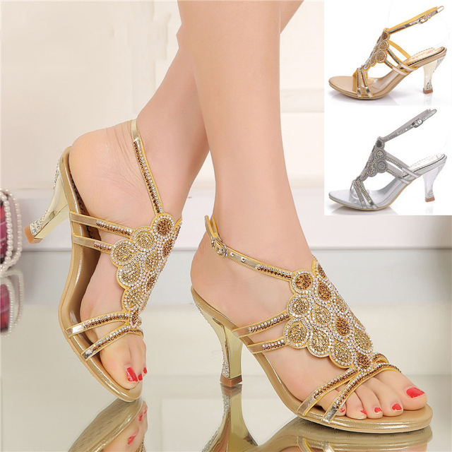 cd6444a29 2018 New Ladies Silver High Heeled Elegant Gold Wedding Shoes Rhinestone  Sandals Size 11 High Quality
