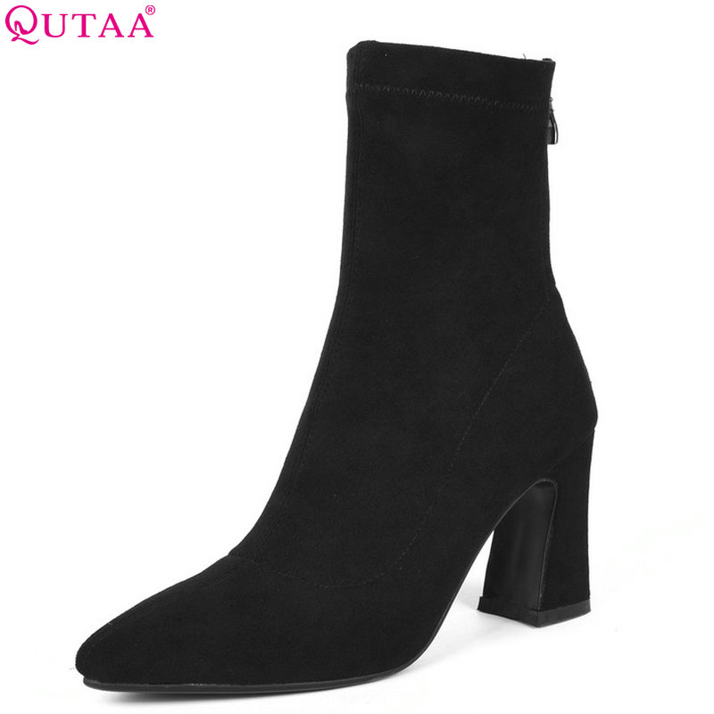QUTAA 2019 Women Ankle Boots Platform Square High Heel All Match Flock Pointed Toe Zipper Elegant Women Boots Big Size 34-39 women s ankle boots strappy pointed toe vogue comfy all match shoes