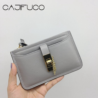 CAJIFUCO Genuine Leather Zipper Clutch With Credit Card Holder Metal Hasp Pouch Wallet Women Wristlet Pouch Phone Holder