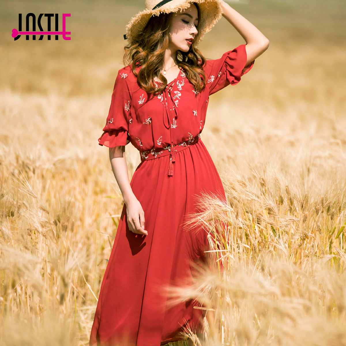 Jastie Red Lace up V-Neck Women Dress Summer 2018 New Chiffon Dresses Embroidery Retro Holiday Dress Boho Midi Female Vestidos женское платье brand new 2015 v midi vestidos dress