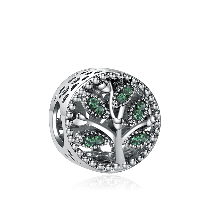 5PCS-HTevak-Silver-Alloy-Charms-Green-Round-Crystal-Tree-of-Life-Spacer-Hollow-Beads-Fit-DIY
