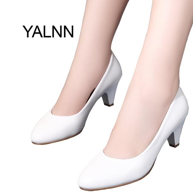 yalnn chaussures femmes cm new med des talon chaussures en cuir noir talon des round tep 3c23b1
