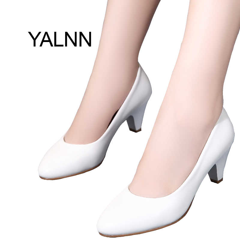 a2da48450a YALNN Women Shoes 5cm New Med Heel Round Toe Black Leather Shoes Classic  White Pumps Shoes Office Lady Shoes