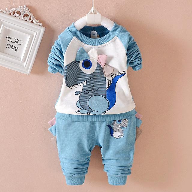 Muchacha del Bebé dinosaurio de la Historieta de La Ropa de Moda de Invierno de algodón Recién Nacido niños Top + Pants 2 unids Traje Infantil Del Bebé ropa