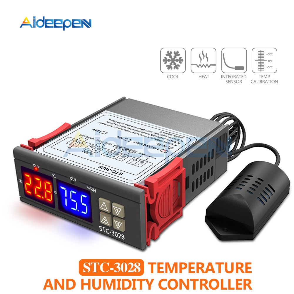 STC-3028 lED Dual Digital Thermostat Temperature Humidity Thermometer Hygrometer Cooling Heating Switch Thermostat NTC Sensor