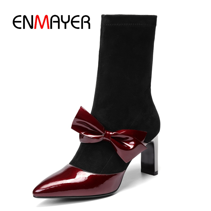 ENMAYER  Basic  Pointed Toe  Slip-On  Ankle  Boots  Genuine Leather  Thin Heels  Women Boots 2018 Size34-39 ZYL1758ENMAYER  Basic  Pointed Toe  Slip-On  Ankle  Boots  Genuine Leather  Thin Heels  Women Boots 2018 Size34-39 ZYL1758