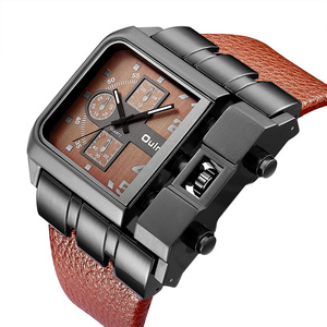 Image 5 - OULM Brand Original Unique Design Square Men Wristwatch Wide Big Dial Casual Leather Strap Quartz Watch Male Sport Watches
