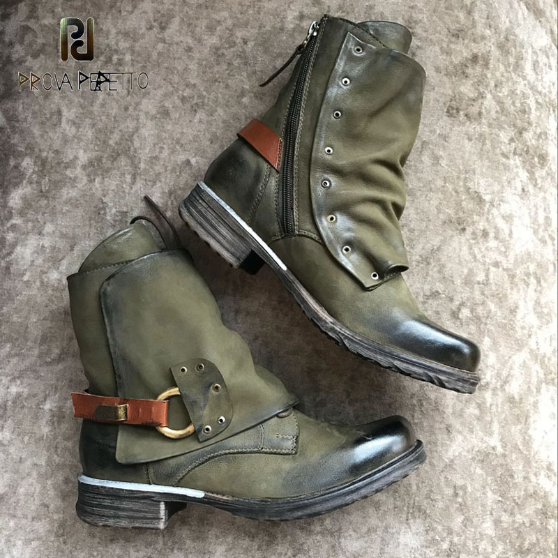 Prova Perfetto Real Leather Top Quality Ankle Boots Belt Buckle Rivets Decor Do Old Leahter Martin Bota Cool Knight Boots