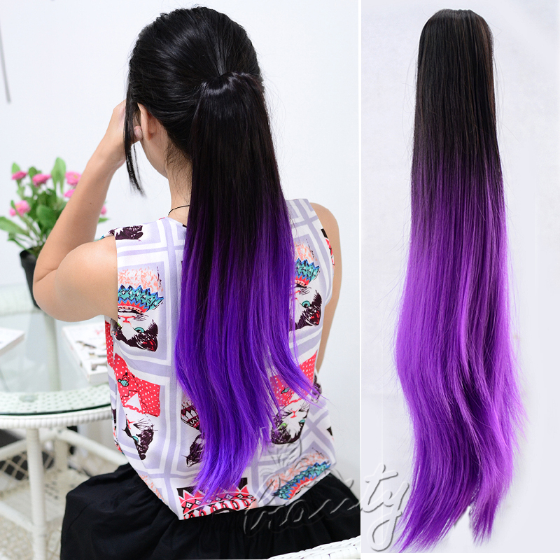 20 Two Tone Style Ombre Dip Dye Clip In Ponytail Hair Extensions