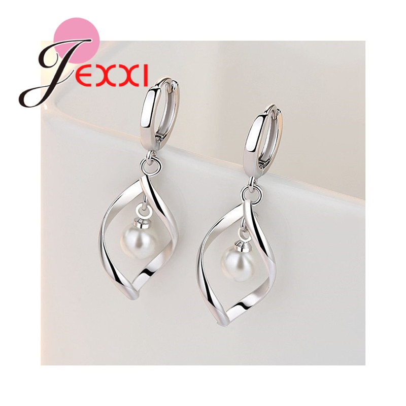 New Arrival Unique Design White Pearl Elegant Party 925 Sterling Silver Necklace Drop Earring Great Women Jewelry Sets